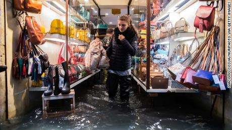 The flood waters in Venice reached 156 centimeters above the average sea level at the top.