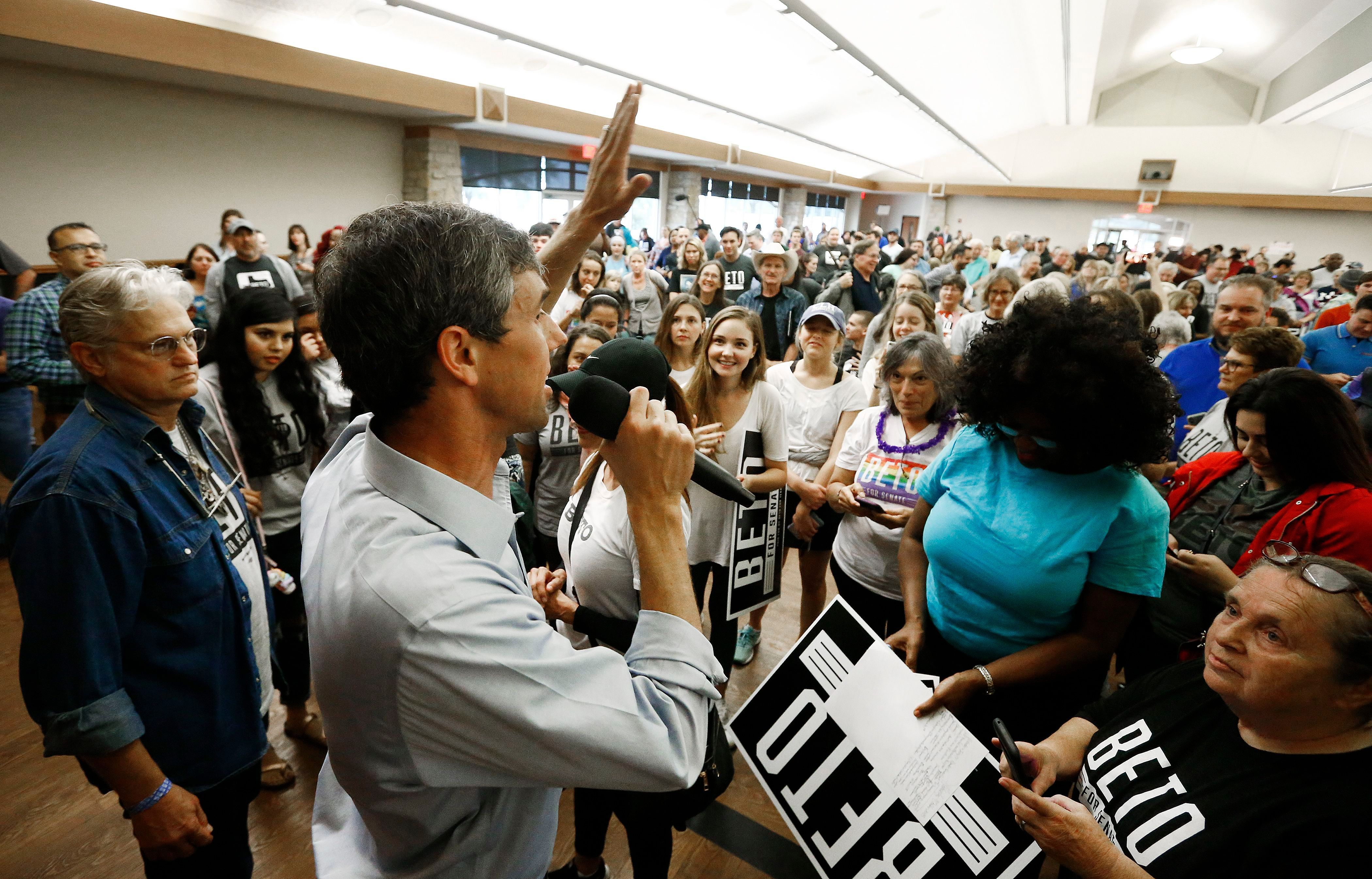 US Senator Beto O'Rourke (L) speaks to fans on a rally inside Knox Hall at the Hall of Fame and Texas Ranger Museum in Waco, Texas, USA, on October 31, 2018. Beto Rouke runs against Senator Ted Cruz for the Senate. US Senate candidate Beto O'Rourke talks with supporters on a Rally, Waco, USA - October 31, 2018