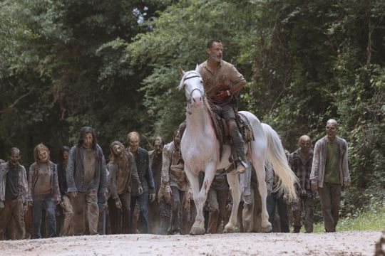 With the zombie walkers looking for, Rick (Andrew Lincoln) places a horse after being removed from a rear hole in AMC's Walking Dead.