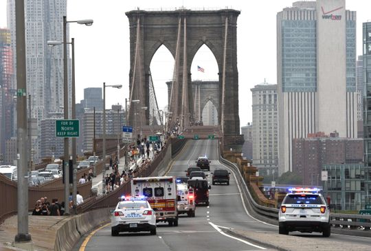 In this photo archive taken on October 10, 2018, the Mexican drug king Joaquin El Chapo & Guzman is accompanied by a police car maker across the Brooklyn Bridge back to jail in Lower Manhattan after the appearance of a court at the Brooklyn District Court.