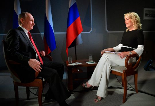 Megyn Kelly spoke with Russian President Vladimir Putin on his short-lived NBC night show in June 2017 in St. Petersburg, Russia. ORG XMIT: XAZ134