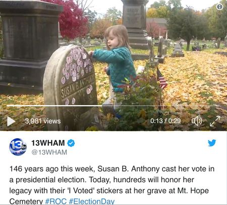 A tweet from @ 13WHAM shows Susan B. Anthony's tomb in a video.