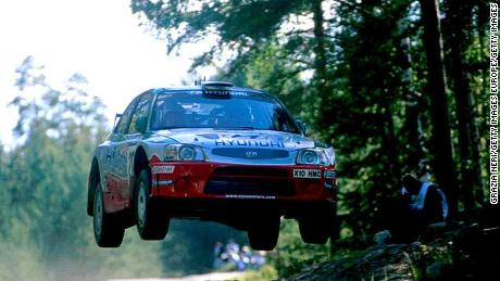 Former world champion rally Juha Kankkunen of Finland jumped during the Neste rally in 2001.