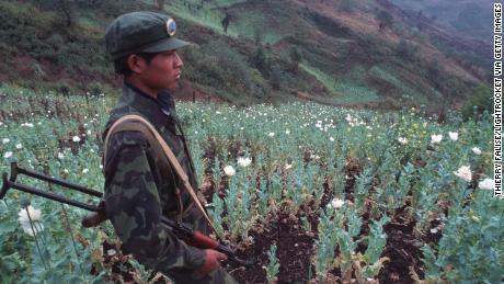 An army soldier of United Wa State in a poppy field in 1995.