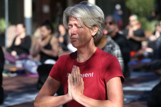 Yoga for a Cause, initially organized to help the Typhoon Michael enclave, becomes a community event to create a sense of peace the following day after the end of the Hot Yoga Tallahassee on Adams Street on Saturday, November 3, 2018.