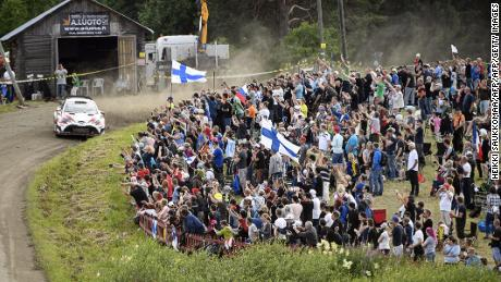 The fans favor the Finnish team of TOYOTA during the 2017 Rally Neste.