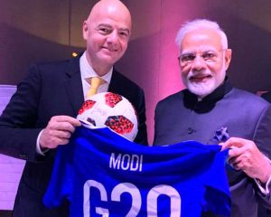 PM Modi meets FIFA president in Argentina, gets special football shirt