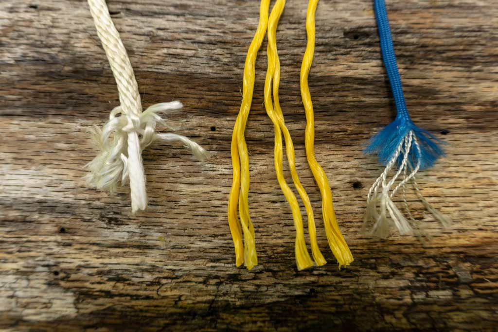 From left to right: Braided, twisted and corded with cords.