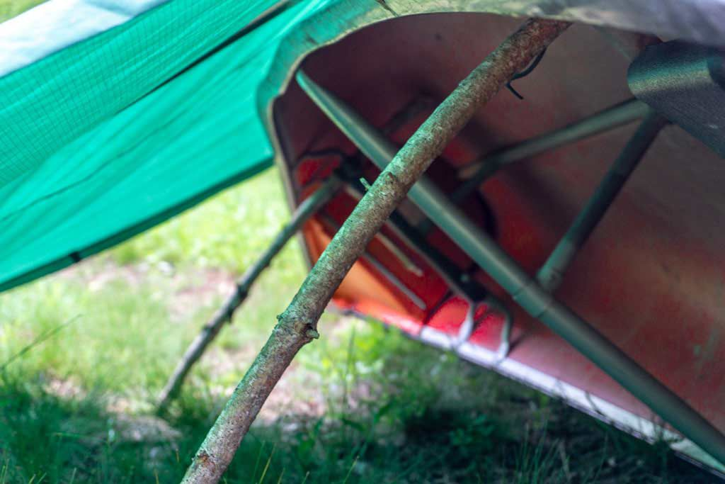 A tarp Equinox along with a canoe makes a great camping setting by the water.
