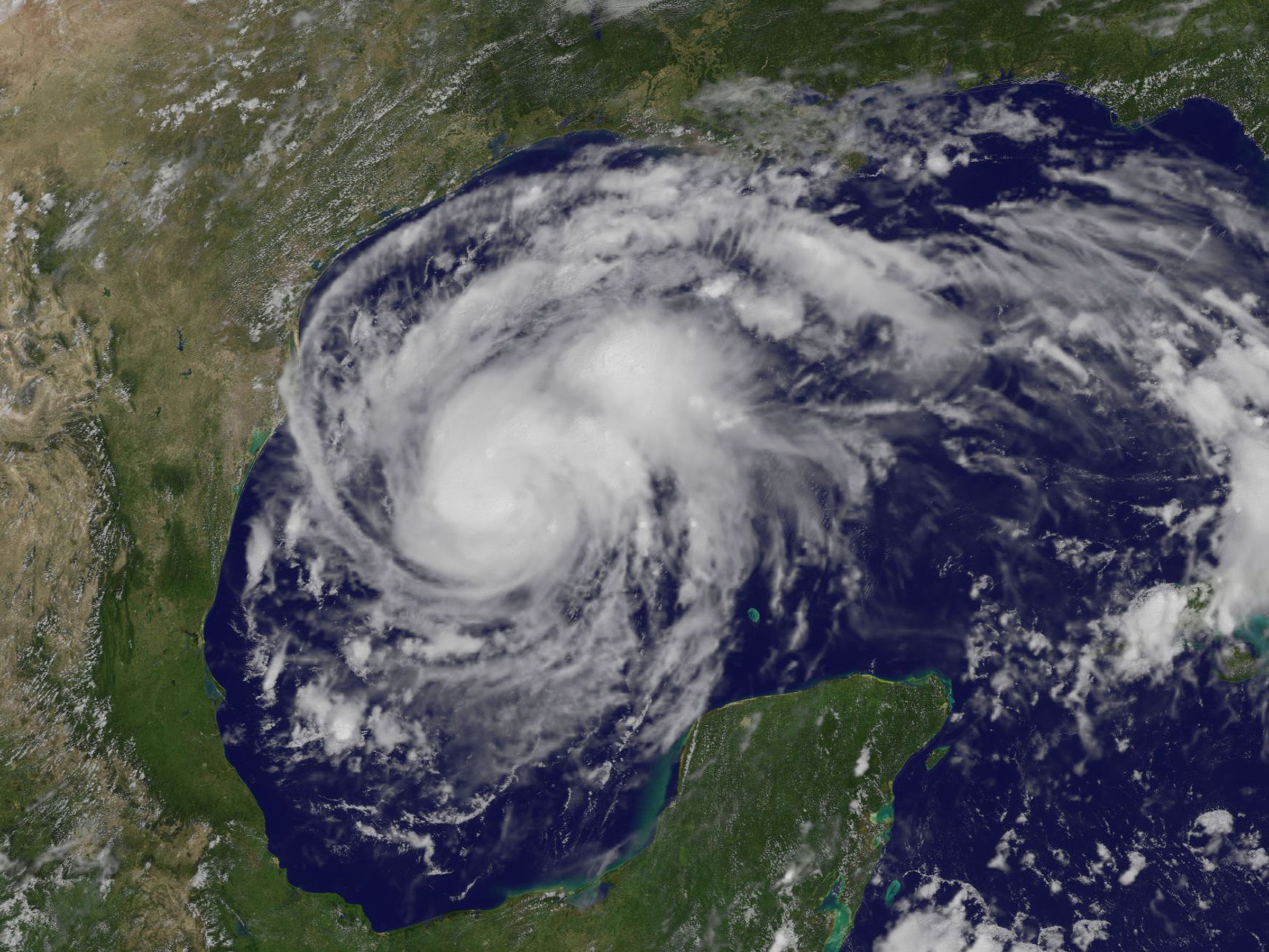 A satellite image of Hurricane Harvey on August 24